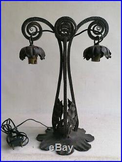 Superbe Pied Lampe Fer Forge Art Déco Pour Tulipe Daum Ou Muller Frères 1930