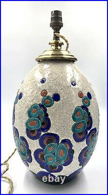 Superbe Pied de LAMPE Charles CATTEAU (1880-1966) Emaux ART-DECO Boch Kéramis