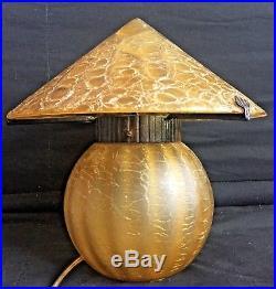 Superbe lampe Art Deco a identifier, verre et fer forgé, Loetz Pallme Konig