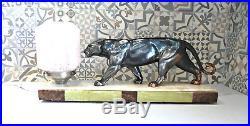 Superbe lampe sculpture Panthère Art Déco 1930 sur marbre / onyx