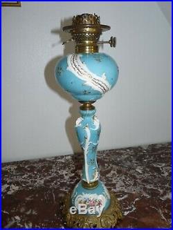 Superbe très rare grande lampe à pétrole en porcelaine et bronze 58cm 19ème