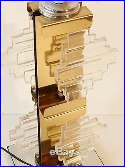 Tres Chic Grand Pied De Lampe Plexiglas Miroir Psychedelique Pop Space Age 70s