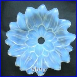 Tulipe de lampe EZAN, vasque verre opalescent Art-Déco Nouveau Fleur de dahlia