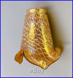 Tulipe verre irisé pour lampe applique Art Déco / Nouveau 1900 Bohème LOETZ