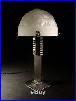 Vasseur & Muller Lampe Art Déco Cataloguée Fer Forgé & Dôme Verre Pressé 1930
