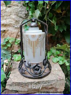Veilleuse Art Deco Lampe-Cloche Fer Forgé 1925-1930