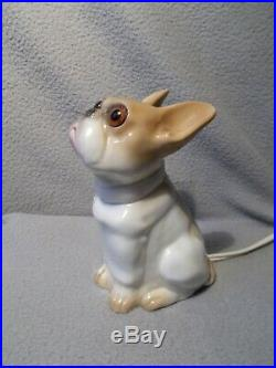 Veilleuse lampe brule parfum art deco 1920 SAXE bouledogue français statuette