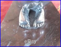 Veilleuse lampe jeune femme art déco métal argenté