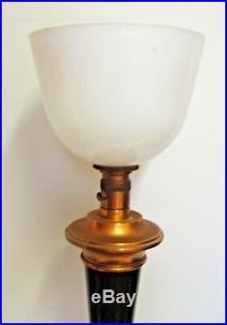 Veritable Lampe De Travail Mazda Art Deco Opaline Patine Acajou Cuivre 72 CM