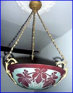 Verre Multicouches Dégagé à l' Acide, Très Belle Lampe, Art Nouveau, Degué